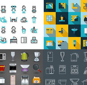 مجموعه ی وکتور های آیکون وسایل های متنوع خانه – Home Interior Icons