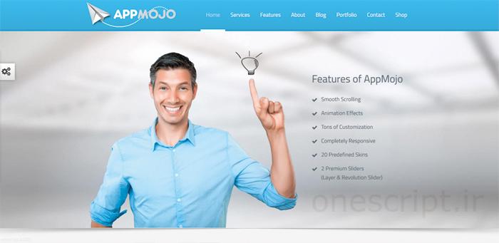 قالب وردپرس ریسپانسیو تک صفحه ای App Mojo