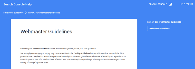راهنمای وبمستر گوگل آپدیت شد